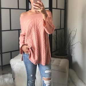 Sweaters - 🆕 TYLA Cable Knit Oversized Off Shoulder Sweater